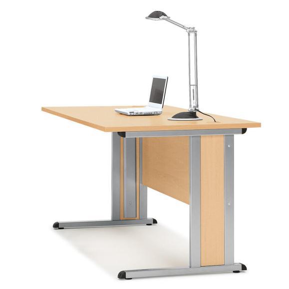 Schreibtisch Basic MULTI M Buchedekor | 1600 mm | 800 mm | Alusilber RAL 9006 | Rechteck