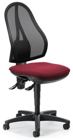 Bürodrehstuhl COMFORT NET ohne Armlehnen Bordeaux | mit Synchron-Mechanik