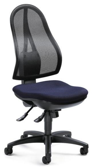 Bürodrehstuhl COMFORT NET ohne Armlehnen Schwarz/Dunkelblau | mit Synchron-Mechanik
