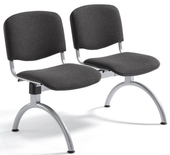 Besucherbank ISO Anthrazit | 2-Sitzer | Alusilber