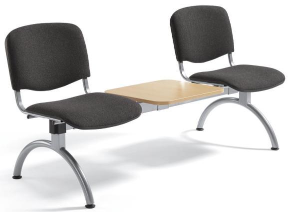 Besucherbank ISO Anthrazit | 2-Sitzer mit Tischplatte | Alusilber