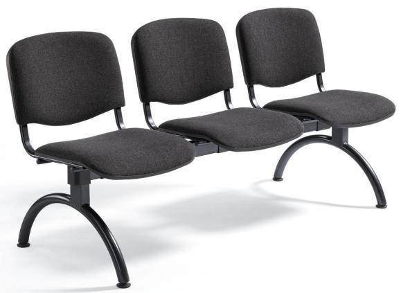 Besucherbank ISO Anthrazit   3-Sitzer   Schwarz