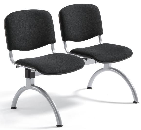 Besucherbank ISO Schwarz   2-Sitzer   Alusilber