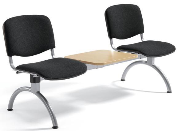 Besucherbank ISO Schwarz   2-Sitzer mit Tischplatte   Alusilber