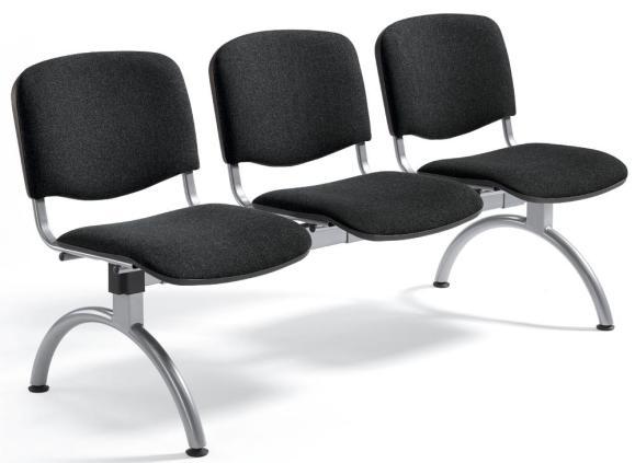 Besucherbank ISO Schwarz   3-Sitzer   Alusilber