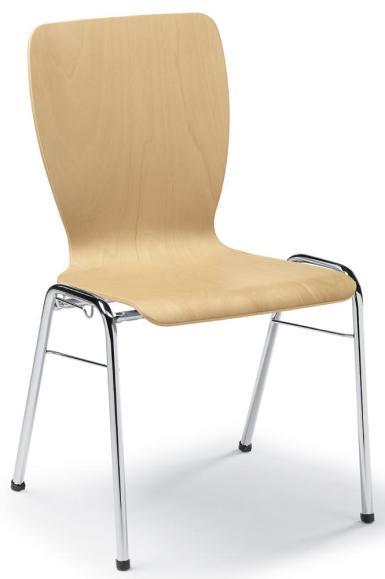 Besucherstuhl JARA Buchedekor   ohne Sitzpolster   Verchromt   ohne