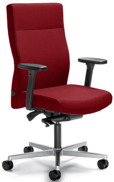 Bürodrehstuhl D001 ohne Armlehnen Rot | Sitzneigeverstellung-Automatik, Sitztiefenverstellung