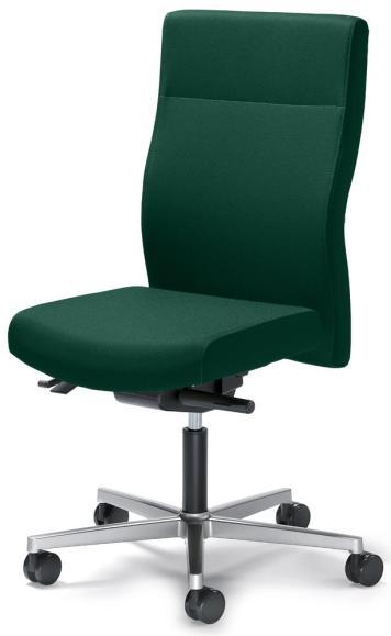 Bürodrehstuhl D001 ohne Armlehnen Dunkelgrün   Sitzneigeverstellung-Automatik, Sitztiefenverstellung   mit Gegenkrafteinstellung   Alusilber   Nein