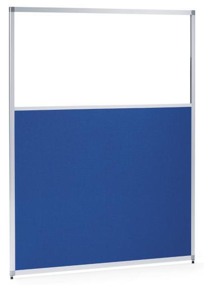 Scheidingswand MIAMI 1210 mm | helder acrylglas en doek blauw, geluidsabsorberend