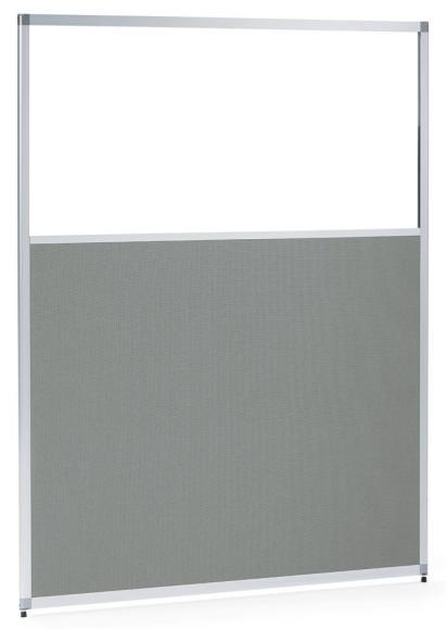 Scheidingswand MIAMI 810 mm | helder acrylglas en doek grijs, geluidsabsorberend
