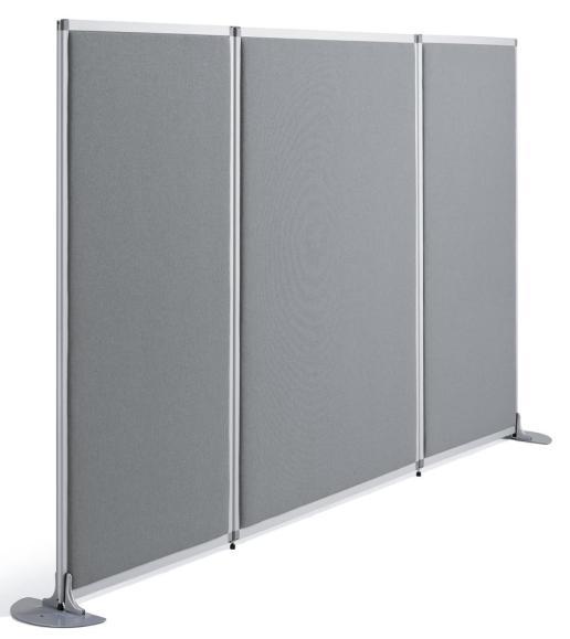 Stellwand/Trennwand MIAMI PLUS, schallabsorbierend 1210 mm | Stoff grau, schallabsorbierend