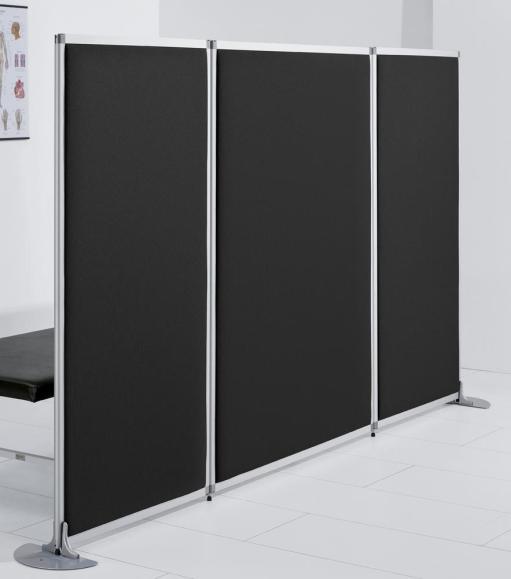 Scheidingswand MIAMI 1210 mm | helder acrylglas / doek zwart, geluidsabsorberend