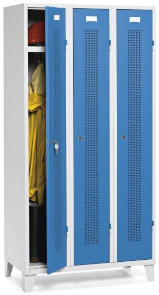Garderoben-Stahlspind SYSTEM SP1 Lichtblau RAL 5012 | Drehriegelverschluss | 300 mm | 3 Stück
