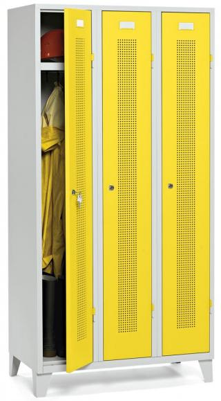 Garderoben-Stahlspind SYSTEM SP1 Verkehrsgelb RAL 1023 | Zylinderschloss | 300 mm | 3 Stück