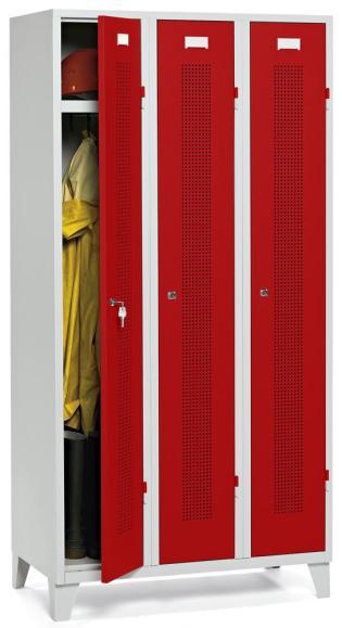 Garderoben-Stahlspind SYSTEM SP1 Feuerrot RAL 3000 | Drehriegelverschluss | 300 mm | 3 Stück