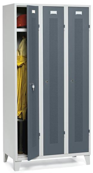 Garderoben-Stahlspind SYSTEM SP1 Blaugrau RAL 7031 | Drehriegelverschluss | 300 mm | 3 Stück