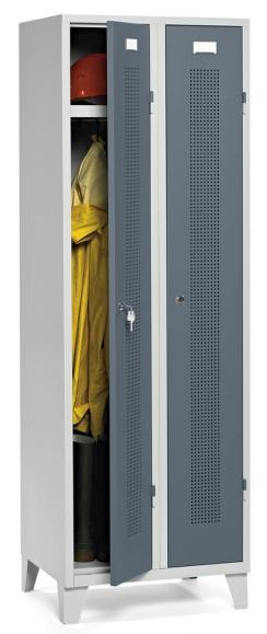 Garderoben-Stahlspind SYSTEM SP1 Blaugrau RAL 7031 | Drehriegelverschluss | 300 mm | 2 Stück
