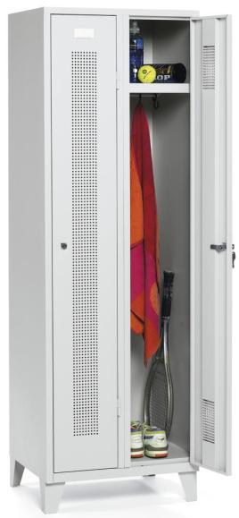 Garderoben-Stahlspind SYSTEM SP1 Lichtgrau RAL 7035 | Zylinderschloss | 300 mm | 2 Stück