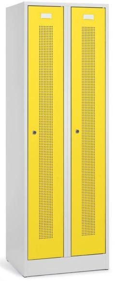 Garderoben-Stahlspind SYSTEM SP1 mit Sockel Verkehrsgelb RAL 1023 | 2 Stück | Zylinderschloss