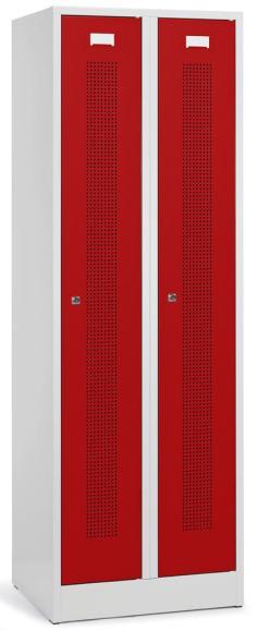 Garderoben-Stahlspind SYSTEM SP1 mit Sockel Feuerrot RAL 3000 | 2 Stück | Zylinderschloss
