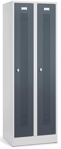 Garderoben-Stahlspind SYSTEM SP1 mit Sockel Blaugrau RAL 7031 | Zylinderschloss | 2 Stück