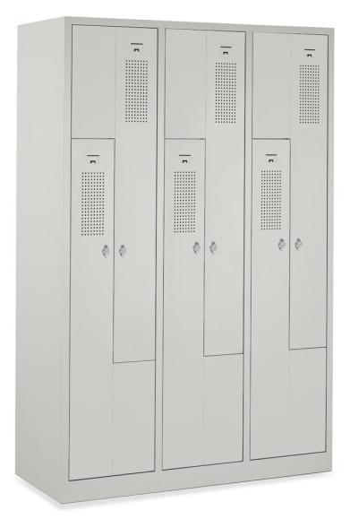 Z-Garderoben-Stahlspind mit Lüftungslöchern Lichtgrau RAL 7035 | 150/300 mm | 6 Stück | Drehriegelverschluss