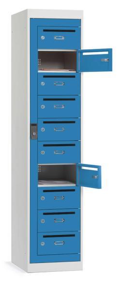 Postverteiler-Stahlschrank mit 10 Türen und Briefschlitz Lichtblau RAL 5012