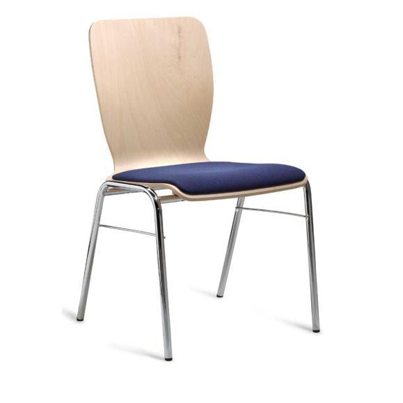Besucherstuhl JARA Blau   Sitzpolster   Verchromt   ohne