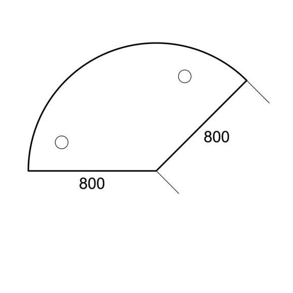 Anbauplatte 135° PROFI Ahorndekor | Stützfuß rund | Anbauplatte 135° für Tischtiefe 800 mm