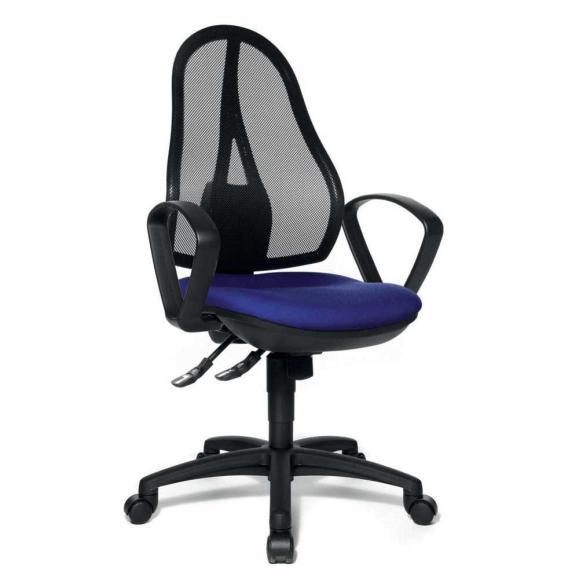 Bürodrehstuhl COMFORT NET inkl. Armlehnen Blau   Synchronmechanik