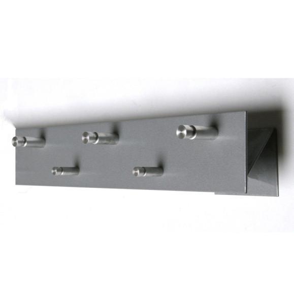 Wandgarderobe mit 5 Rundhaken silbermetallic Silber | Haken versetzt | 5