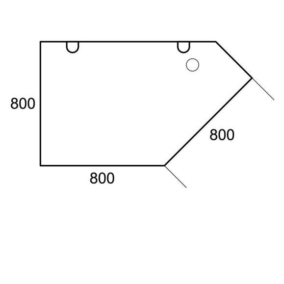 Anbauplatte Trapez PROFI Weiß | T-Fuß | Trapez links