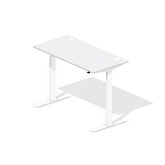 Sitz-/Stehtisch EVO Lichtgrau   1600 mm   Weiß RAL 9016