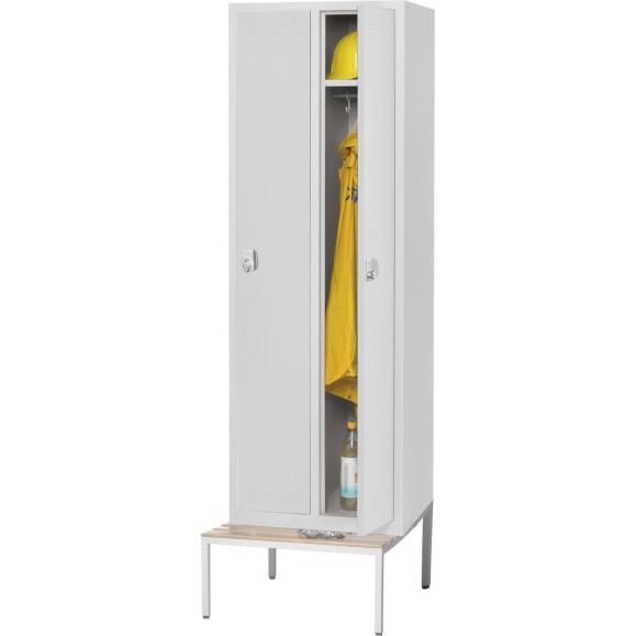 Garderoben-Stahlspind SP PROFI mit Sitzbank Lichtgrau RAL 7035 | 300 mm | 2 Stück | Drehriegelverschluss