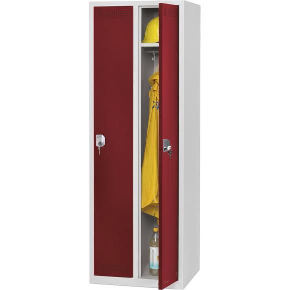 Garderoben-Stahlspind SP PROFI SYSTEM Rubinrot RAL 3003 | 300 mm | 2 Stück | Zylinderschloss