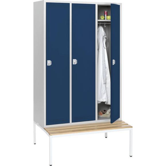 Garderoben-Stahlspind SP PROFI mit Sitzbank Stahlblau RAL 5011 | 400 mm | 3 Stück | Zylinderschloss