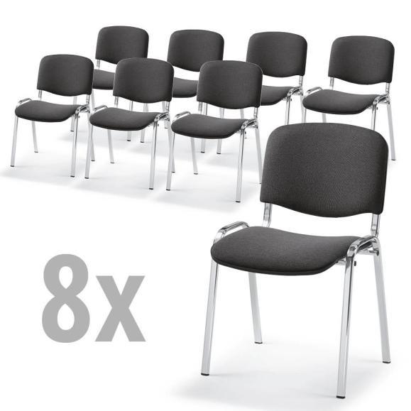 8 Besucherstühle im SET - Stoff Basic C, 3 Gestellfarben