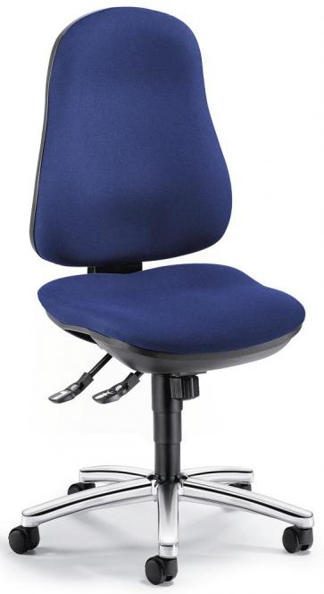 Bürodrehstuhl COMFORT I ohne Armlehnen Blau | Verchromt | ohne Armlehnen (optional)