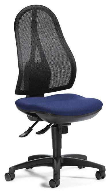 Bürodrehstuhl COMFORT NET ohne Armlehnen Blau   mit Permanentkontakt-Mechanik