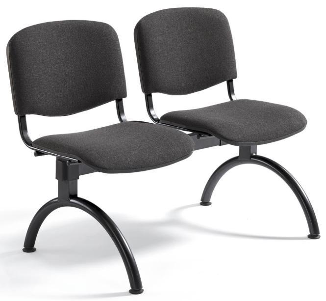 Besucherbank ISO Anthrazit   2-Sitzer   Schwarz