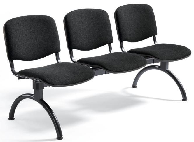 Besucherbank ISO Schwarz   3-Sitzer   Schwarz
