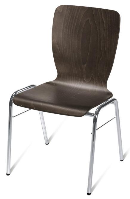 Besucherstuhl JARA Wenge | ohne Sitzpolster | Verchromt | ohne