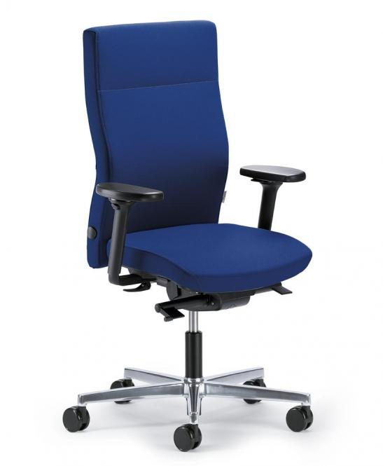 Bürodrehstuhl D001 ohne Arml. Fuß poliert, Gewichtsautomatik