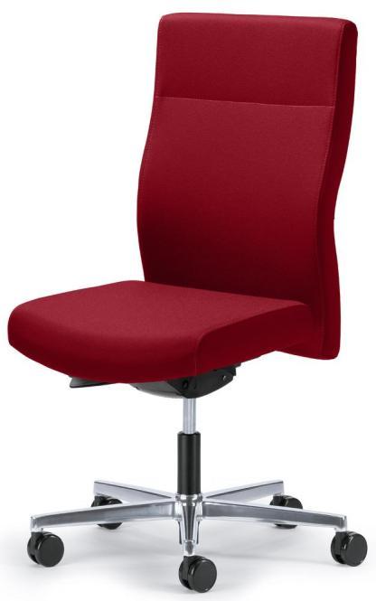 Bürodrehstuhl D001 ohne Armlehnen Rot | Sitztiefenverstellung | mit Gewichtsautomatik | Aluminium poliert | Nein