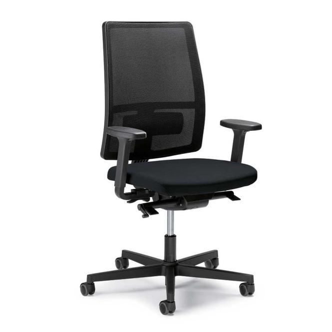Bürodrehstuhl ecoSIT ohne Armlehnen Schwarz/Schwarz