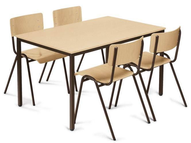 SET-ANGEBOT: 4x Kantinen-Stapelstühle + 1x Tisch