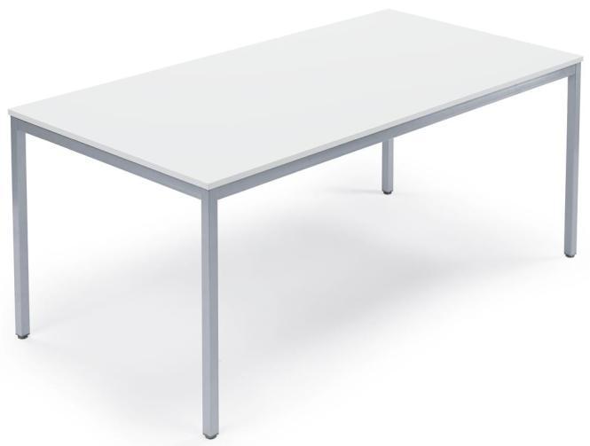 Besprechungstisch DESKIN LINE Weiß | 1400 mm | 700 mm | Alusilber RAL 9006 | Rechteck | 19 mm