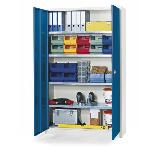 Materialschrank aus Stahl - Tiefe 420 mm Enzianblau RAL 5010   1200 mm