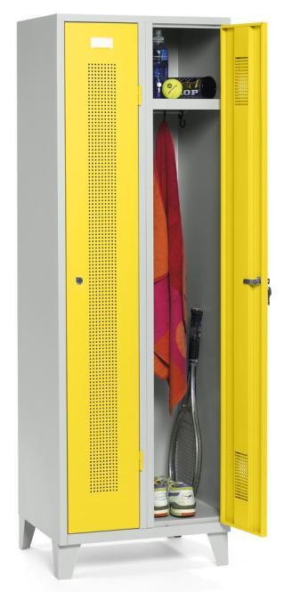 Garderoben-Stahlspind SYSTEM SP1 Verkehrsgelb RAL 1023 | Zylinderschloss | 300 mm | 2 Stück