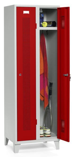 Garderoben-Stahlspind SYSTEM SP1 Feuerrot RAL 3000 | Zylinderschloss | 300 mm | 2 Stück
